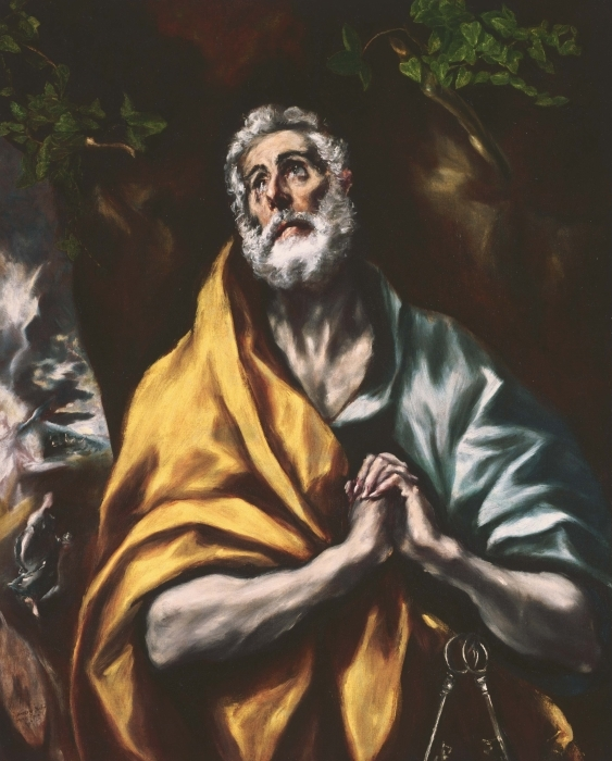 Pixerstick Aufkleber El Greco - Der reuige heilige Petrus - Reproduktion