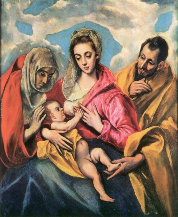 Papier peint vinyle Le Greco - La Sainte Famille avec Sainte Anne - Reproductions