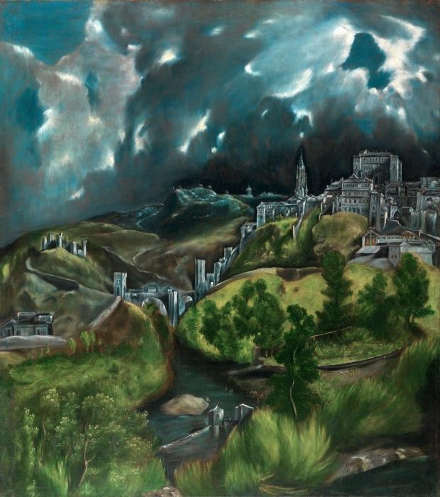 Papier peint vinyle Le Greco - Vue de Tolède sous l'orage - Reproductions