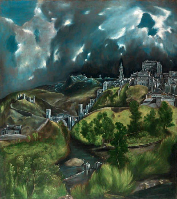 El Greco - Thunderstorm over Toledo Pixerstick Sticker - Reproductions