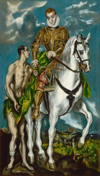 Pixerstick Aufkleber El Greco - Der heilige Martin und der Bettler - Reproduktion