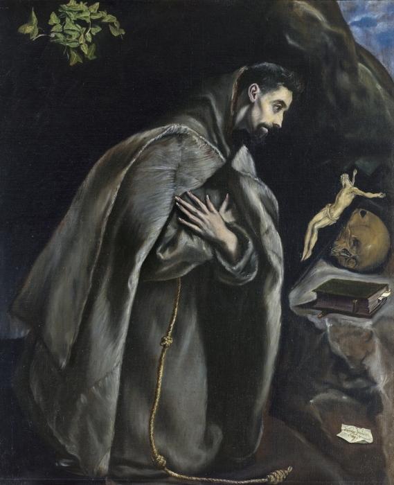 Pixerstick Aufkleber El Greco - Der heilige Franziskus im Gebet - Reproduktion