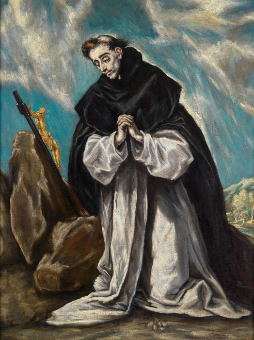 Naklejka Pixerstick El Greco - Św. Dominik pogrążony w modlitwie - Reprodukcje