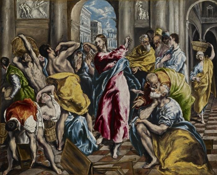 Naklejka Pixerstick El Greco - Wypędzenie przekupniów ze świątyni - Reprodukcje