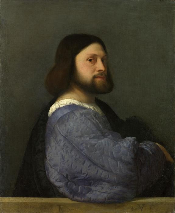 Papier peint vinyle Titien - Portrait d'homme - Reproductions