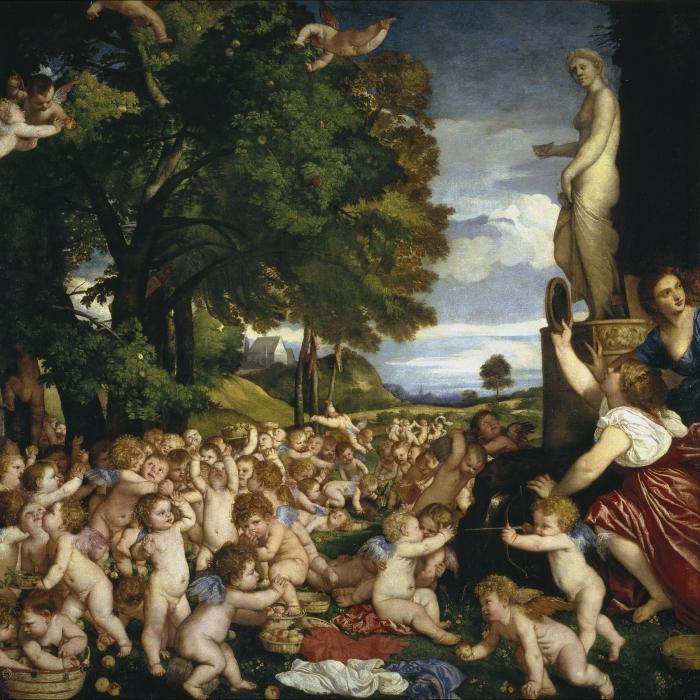 Titian - The Worship of Venus Pixerstick Sticker - Reproductions