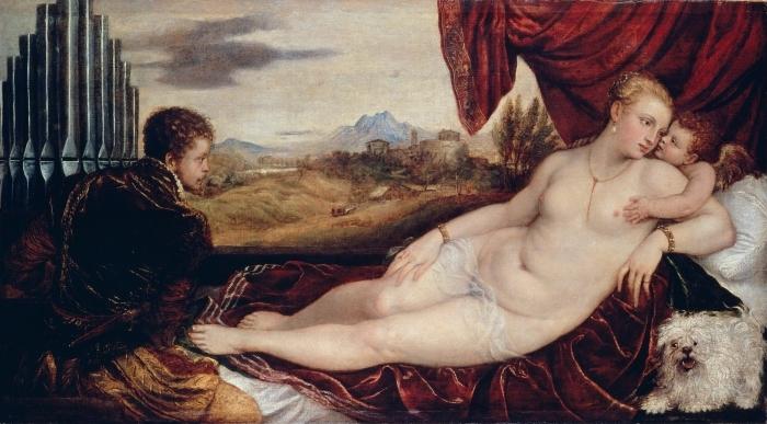 Pixerstick Aufkleber Tizian - Venus mit dem Orgelspieler - Reproduktion