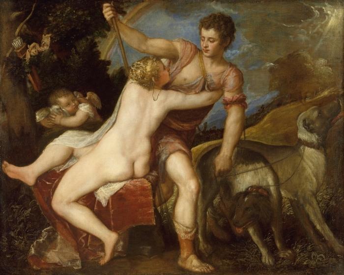 Vinilo Pixerstick Tiziano - Venus y Adonis - Reproducciones