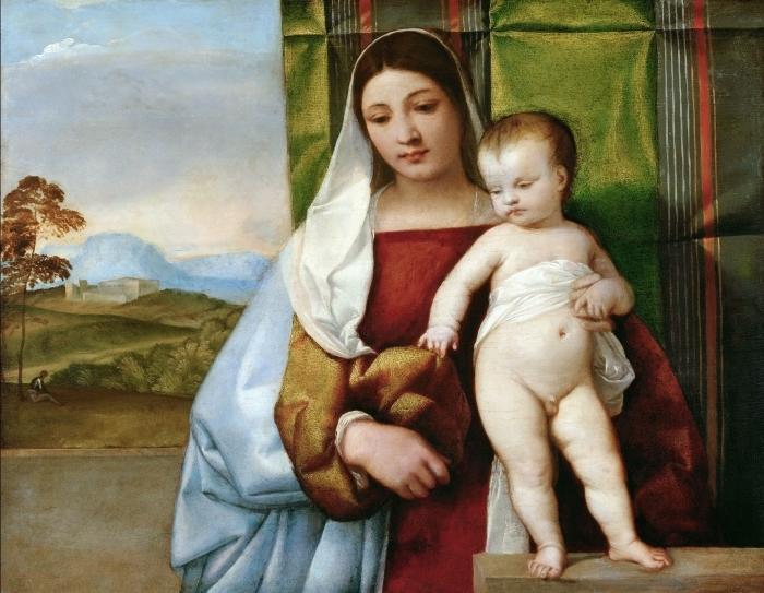 Naklejka Pixerstick Tycjan - Maria z Dzieciątkiem - Reprodukcje