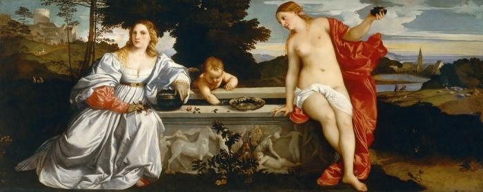 Naklejka Pixerstick Tycjan - Miłość niebiańska i miłość ziemska - Reprodukcje