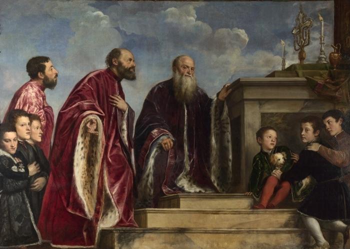 Pixerstick Aufkleber Tizian - Votivbild der Familie Vendramin - Reproduktion