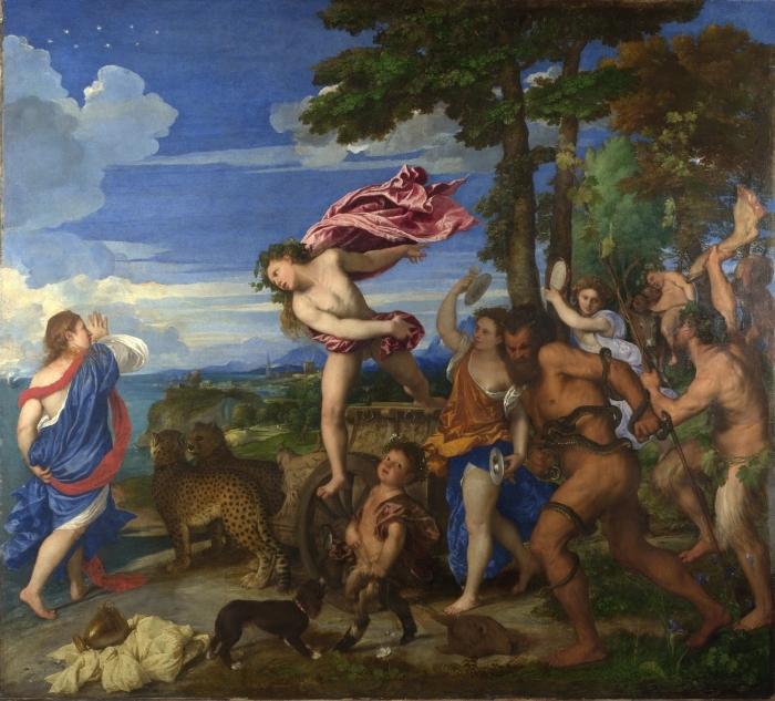 Naklejka Pixerstick Tycjan - Bachus i Ariadna - Reprodukcje