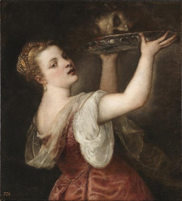 Naklejka Pixerstick Tycjan - Salome z głową Jana Chrzciciela - Reprodukcje