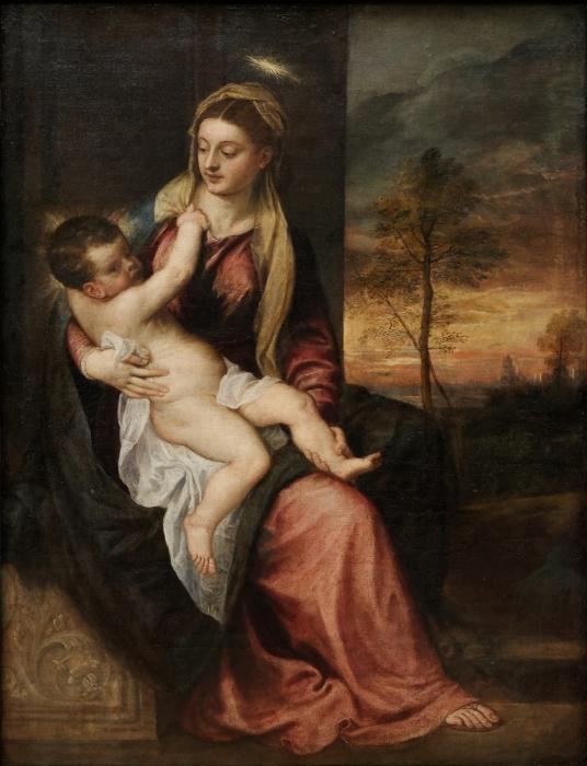 Vinyl-Fototapete Tizian - Madonna mit dem Kind in einer Abendlandschaft - Reproduktion