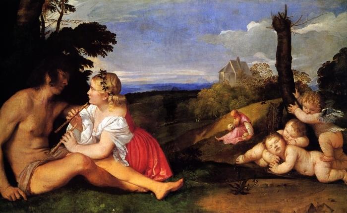 Fotomural Estándar Tiziano - Las tres edades del hombre - Reproducciones