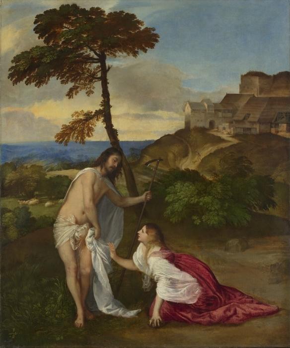 Pixerstick Aufkleber Tizian - Christus und Maria Magdalena (Noli me tangere) - Reproduktion