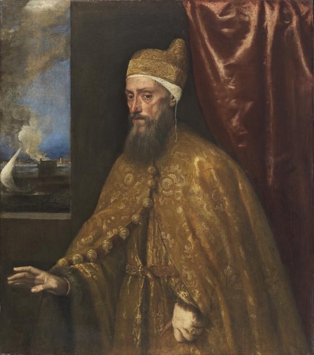 Naklejka Pixerstick Tycjan - Portret doży Francesco Veniera - Reprodukcje