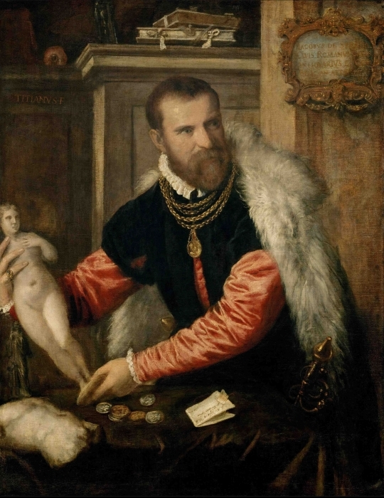 Pixerstick Aufkleber Tizian - Bildnis Jacopo de Strada - Reproduktion
