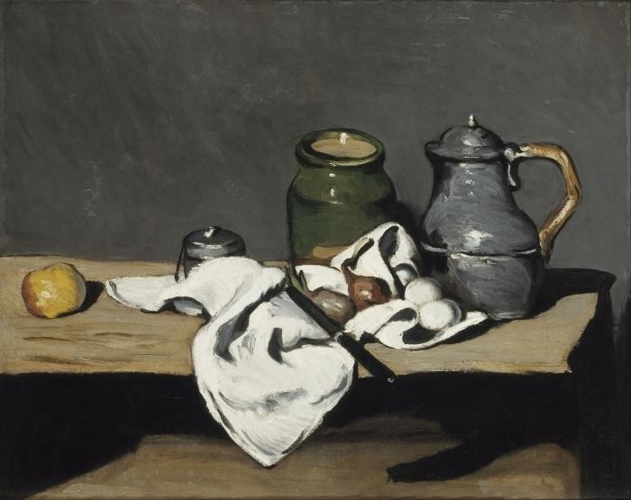 Vinyl-Fototapete Paul Cézanne - Stillleben mit grünem Gefäß und Zinnkanne - Reproduktion