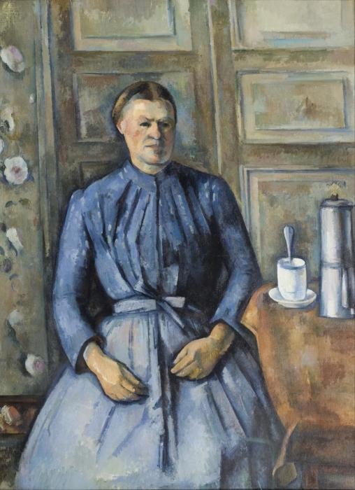 Vinilo Pixerstick Paul Cézanne - Mujer con una taza de café - Reproducciones