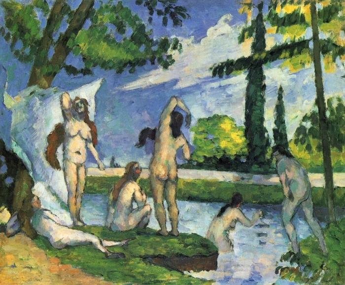 Naklejka Pixerstick Paul Cézanne - Kąpiące się - studium - Reprodukcje