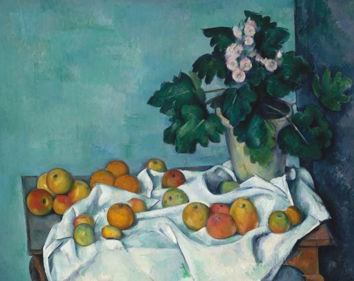 Papier peint vinyle Paul Cézanne - Fruit sur un tissu - Reproductions