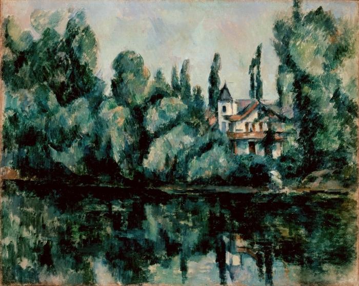 Pixerstick Aufkleber Paul Cézanne - Ufer der Marne (Villa am Flussufer) - Reproduktion