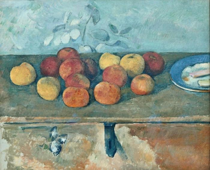Adesivo Pixerstick Paul Cézanne - Natura morta con mele e Bisquits - Riproduzioni