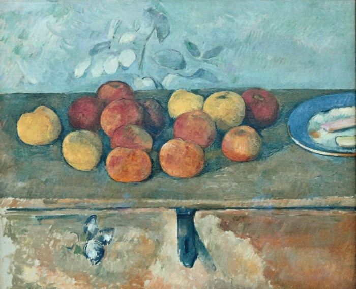 Vinyl Fotobehang Paul Cézanne - Stilleven met appels en koekjes - Reproducties