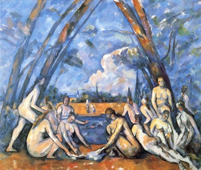 Naklejka Pixerstick Paul Cézanne - Kąpiące się - Reprodukcje