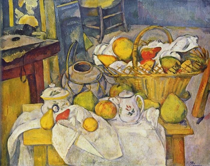 Naklejka Pixerstick Paul Cézanne - Martwa natura z koszem - Reprodukcje