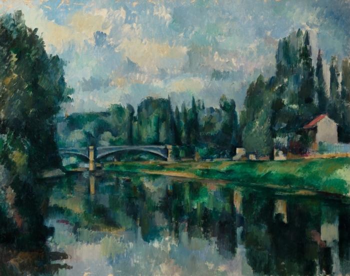 Pixerstick Aufkleber Paul Cézanne - Ufer der Marne (Brücke über die Marne in Créteil) - Reproduktion
