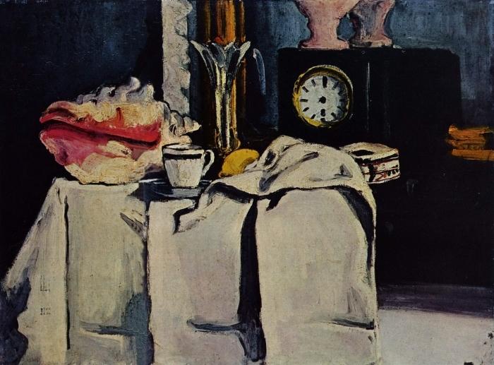 Fototapeta winylowa Paul Cézanne - Martwa natura z czarnym zegarem - Reprodukcje