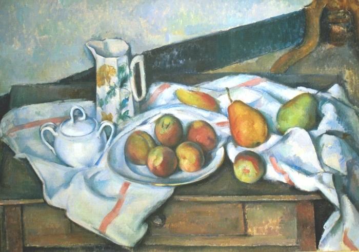 Papier peint vinyle Paul Cézanne - Nature morte (Pêches et poires) - Reproductions