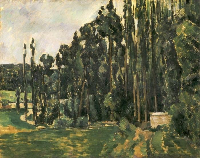 Papier peint vinyle Paul Cézanne - Les peupliers - Reproductions
