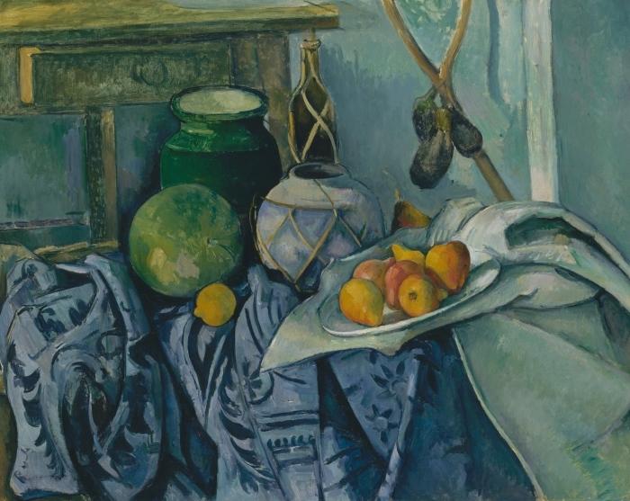 Pixerstick Aufkleber Paul Cézanne - Stillleben mit Ingwertopf, Kürbis und Auberginen - Reproduktion