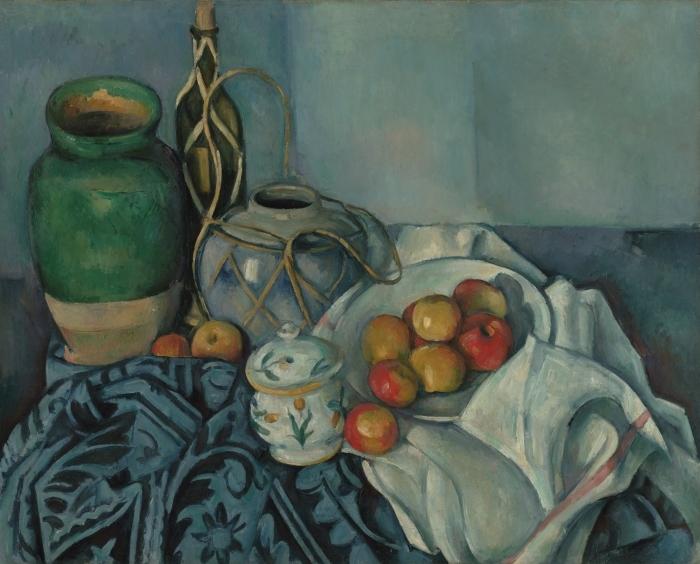 Selbstklebende Fototapete Paul Cézanne - Stillleben mit Ingwertopf, Zuckerdose und Äpfeln - Reproduktion