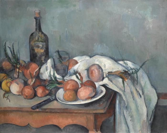 Papier peint vinyle Paul Cézanne - Nature morte aux oignons - Reproductions