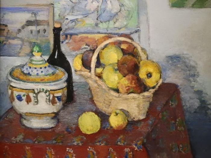 Pixerstick Aufkleber Paul Cézanne - Stillleben mit Obstkorb und Suppenterrine - Reproduktion