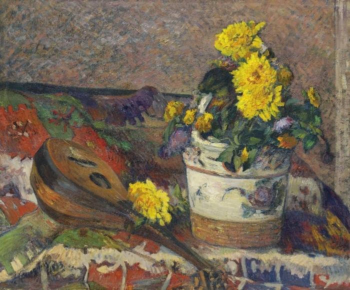 Papier peint vinyle Paul Gauguin - Nature morte à la mandoline - Reproductions
