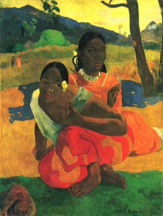 Abwaschbare Fototapete Paul Gauguin - Nafea faa ipoipo (Wann heiratest du?) - Reproduktion