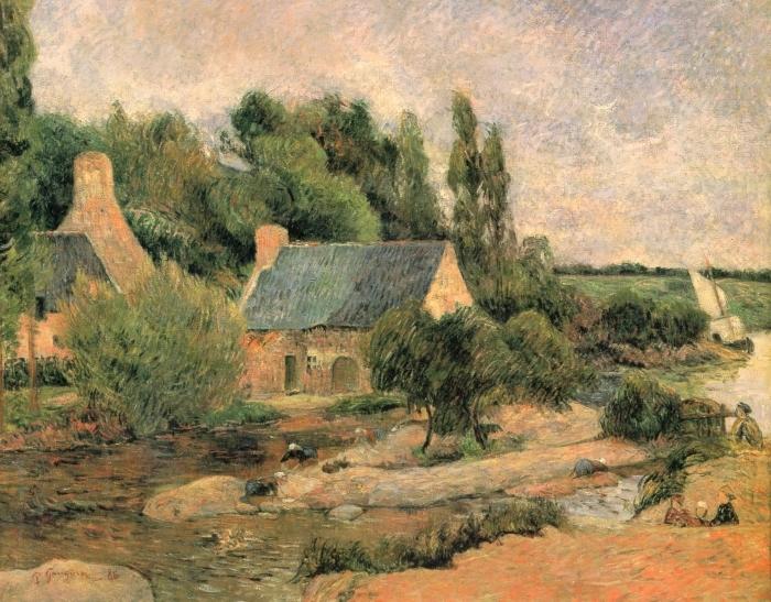 Naklejka Pixerstick Paul Gauguin - Praczki w Pont-Aven - Reprodukcje