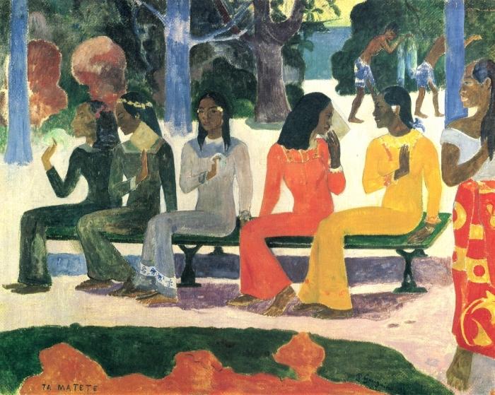 Papier peint vinyle Paul Gauguin - Ta Matete (Nous n'irons pas au marché aujourd'hui) - Reproductions