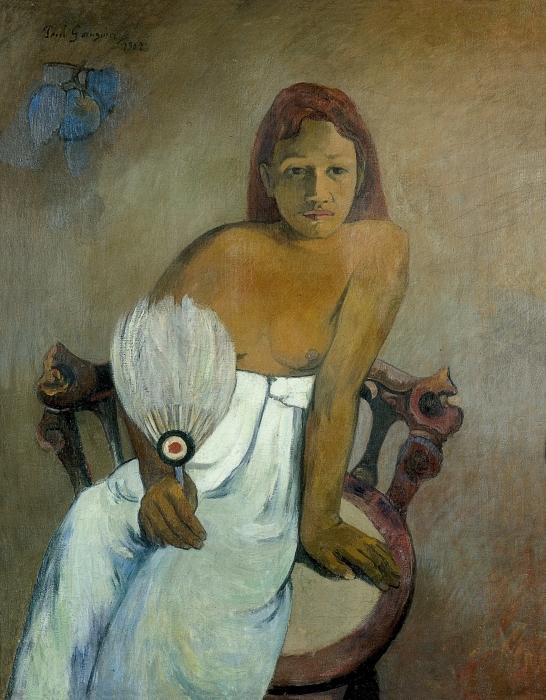 Naklejka Pixerstick Paul Gauguin - Dziewczyna z wahlarzem - Reprodukcje