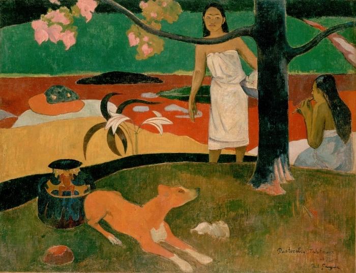 Naklejka Pixerstick Paul Gauguin - Tahitańskie pasterki - Reprodukcje