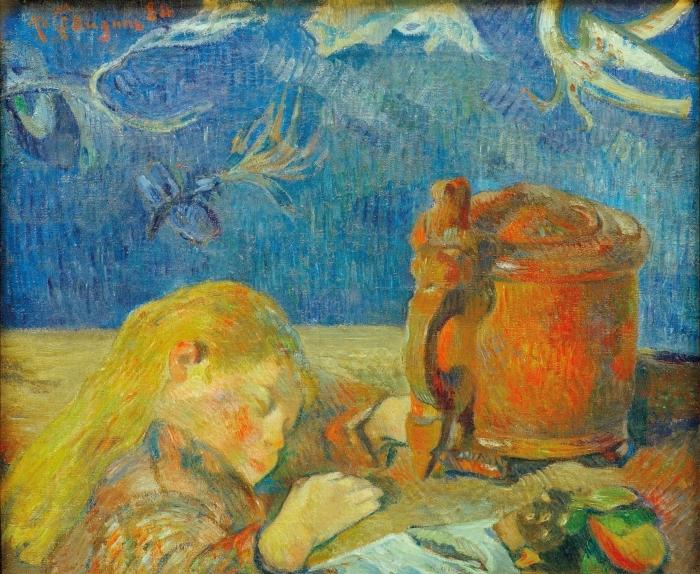 Papier peint vinyle Paul Gauguin - Portrait de Clovis Gauguin (L'enfant endormi) - Reproductions