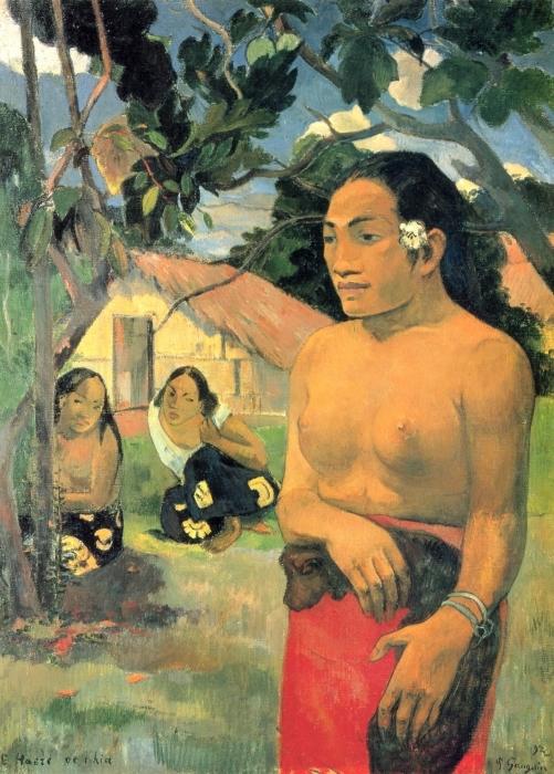 Vinyl-Fototapete Paul Gauguin - E haere oe i hia? (Wohin gehst du?) - Reproduktion