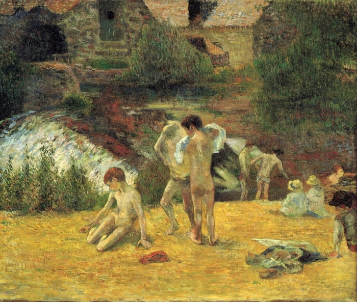 Papier peint vinyle Paul Gauguin - La Baignade au moulin du Bois d'Amour - Reproductions