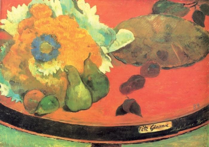 Naklejka Pixerstick Paul Gauguin - Martwa natura Fête Gloanec - Reprodukcje