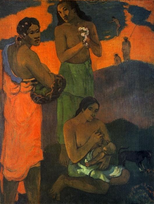 Pixerstick Aufkleber Paul Gauguin - Mutterschaft - Reproduktion